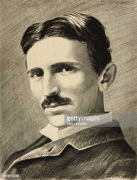 Portrait of Nikola Tesla SerbianAmerican inventor electrical engineer amd physicist aged 34 circa 1890 From a photograph by Napoleon Sarony