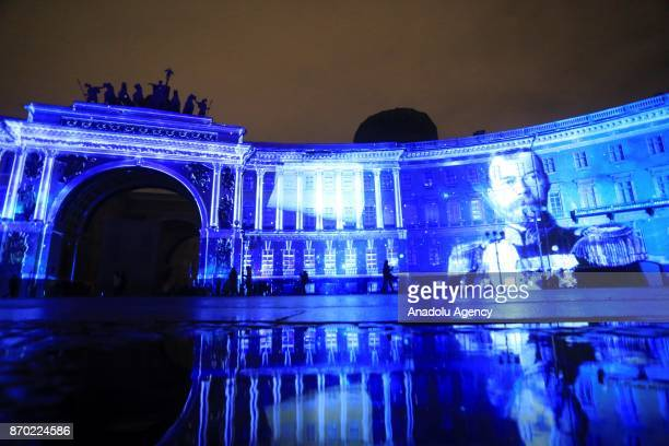Portrait of Nikolay II is seen during the light show '1917' on General Staff building to mark the 100th anniversary of the Bolshevik Revolution in...