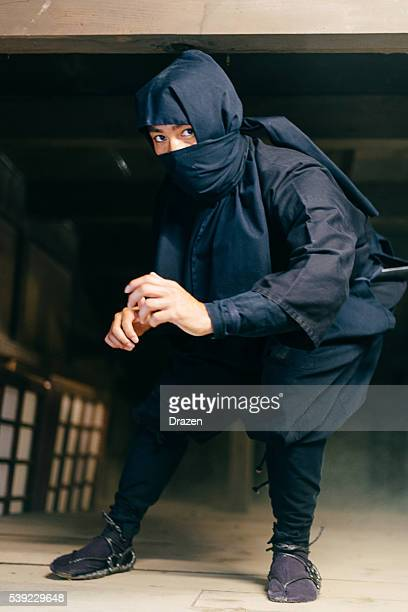 Portrait of ninja in traditional Japanese village