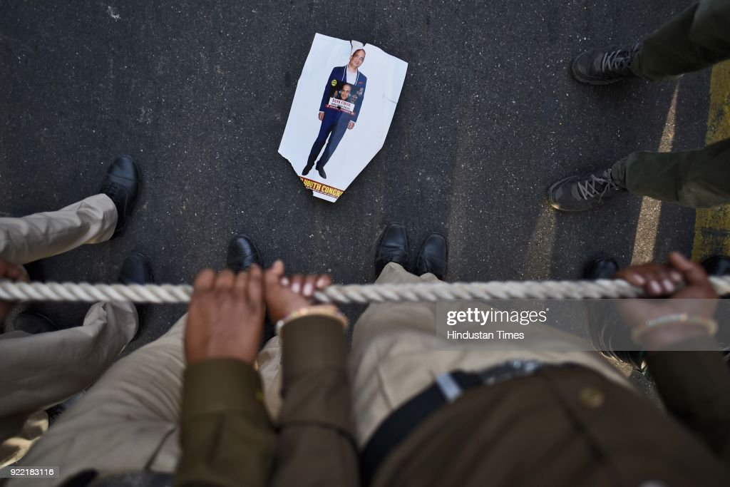 A portrait of Nirav Modi lies on the ground during the protest march of Indian Youth Congress at IYC office, on February 21, 2018 in New Delhi, India.