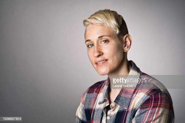 portrait of non-binary person - non binary gender stock pictures, royalty-free photos & images