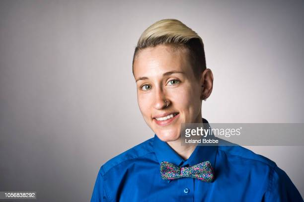portrait of non-binary person - androgynous stock pictures, royalty-free photos & images