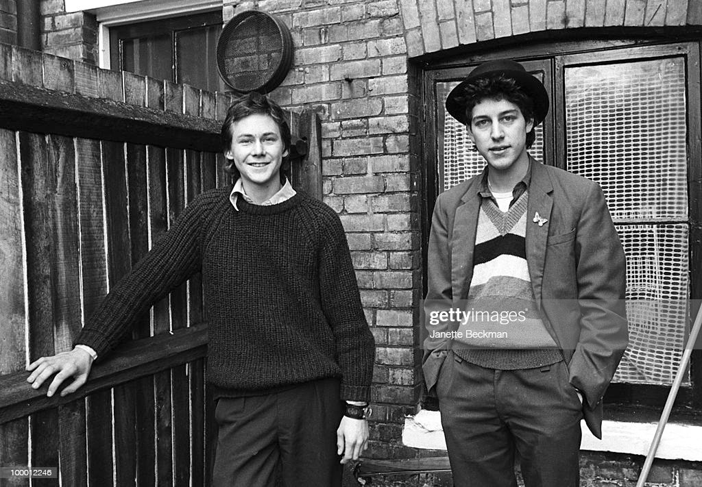 Portrait of non-musicians Bendle Calder and Nag Vladermersky, professionally known as Bendle and Nag, who performed in the experimental punk band The Door and The Window, among numerous others, London, 1980.