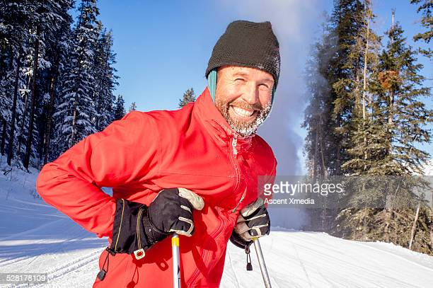 Portrait of nordic skier on very cold day