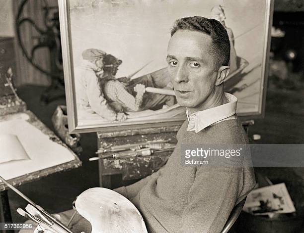 Portrait of Norman Rockwell Working on Paintings