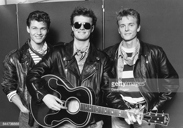 Portrait of Norweigan pop band 'AHa' Morten Harket Magne Furuholmen and Paul WaaktaarSavoy London April 13th 1988
