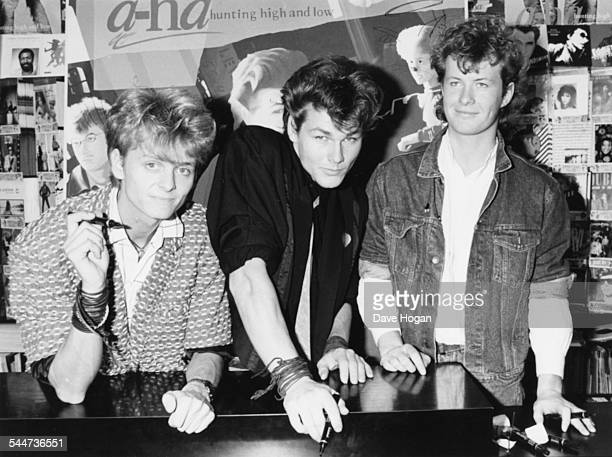 Portrait of Norweigan pop band 'AHa' Paul WaaktaarSavoy Morten Harket and Magne Furuholmen signing records for fans at the HMV store London January...