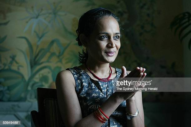 Portrait of novelist and peace prizewinner Arundhati Roy at the Observatory Hotel 2 November 2004 SMH Picture by JACKY GHOSSEIN