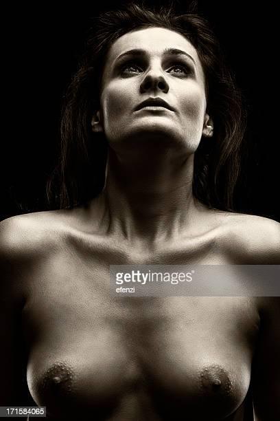 retrato de mulher de pele - silhueta de corpo feminino preto e branco imagens e fotografias de stock