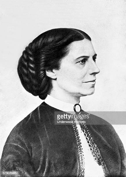 A portrait of nurse educator and founder of the American Red cross Clara Barton taken during the Civil War and authorized by her as the one she...