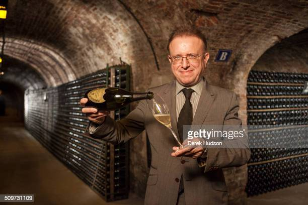 Portrait of oenologist Richard Geoffroy in the Dom Perignon cellars of the Moet Chandon winery Reims France October 2010