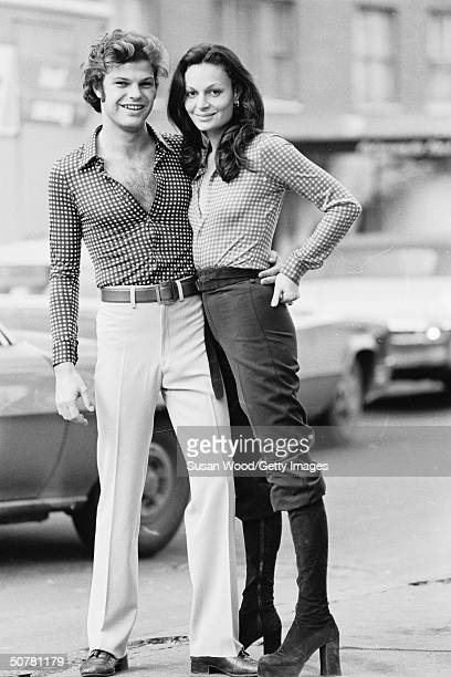 Portrait of of fashion designer Diane von Furstenberg and her husband Austrian prince Egon von Furstenberg standing in a city street 1970s