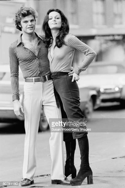 Portrait of of fashion designer Diane von Furstenberg and her husband Austrian prince Egon von Furstenberg standing in a city street 1970s