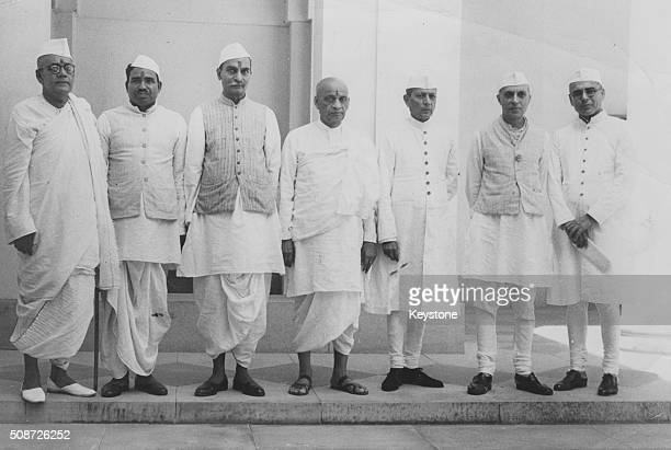 Portrait of of the Indian Interim Government Sarat Chandra Bose Jagjivan Ram Rajendra Prasad Sardar Vallabhai Patel Asaf Ali Pandit Jawaharlal Nehru...