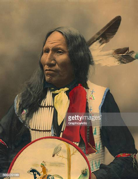 Portrait of Oglala Sioux Chief Strikes With Nose; hand-colored platinum print, 1899. Taken by the Heyn photographic studio in Omaha, Nebraska.
