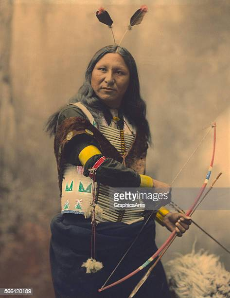 Portrait of Oglala Sioux Shout At handcolored platinum print 1899 Taken by the Heyn photographic studio in Omaha Nebraska