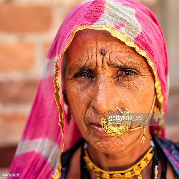 portrait of old indian woman, bishnoi village near jodhpur - nose piercing stock pictures, royalty-free photos & images