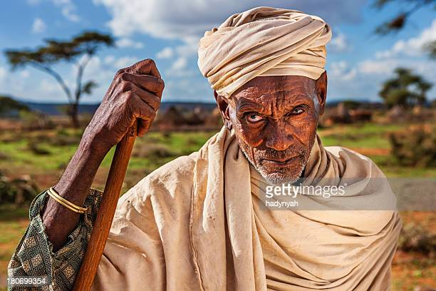 Portrait of old man from Borana tribe, Ethiopia, Africa
