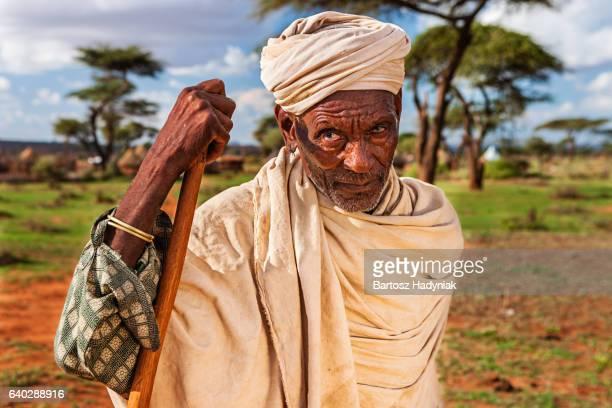 Porträt von Alter Mann von Borana-Stammes, Äthiopien, Afrika