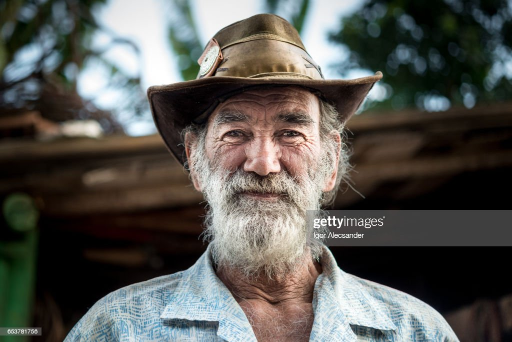 Portrait of old man, wagon horse worker, Brazil : Stock Photo