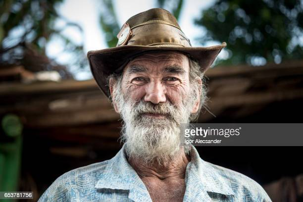 portrait of old man, wagon horse worker, brazil - beard stock pictures, royalty-free photos & images