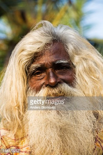 Portrait Of Old Man With Long Hair And Beard Stock Photo