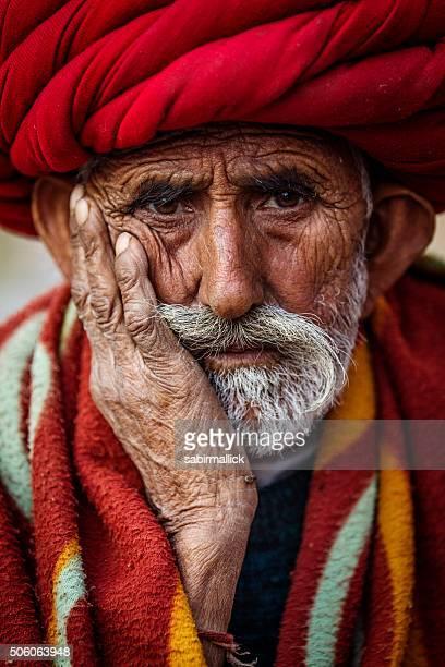 Portrait de l'ancien homme Tribal du Rajasthan, Inde.