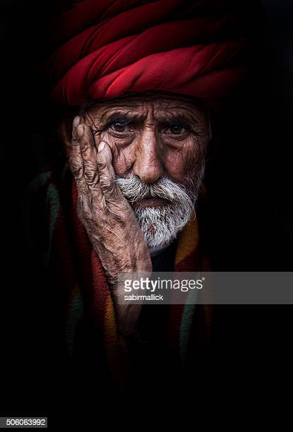 Portrait de l'ancien homme Tribal, Rajasthan, Inde.