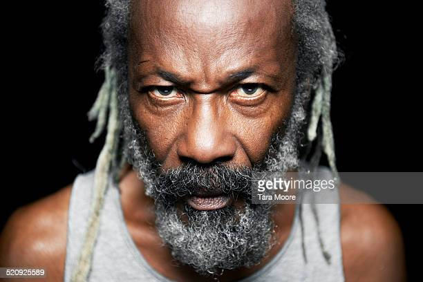 portrait of older black man - anger stock pictures, royalty-free photos & images