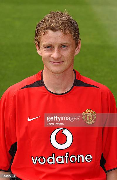 A portrait of Ole Gunnar Solskjaer during the Manchester United official photocall at Old Trafford on August 11 2003 in Manchester England