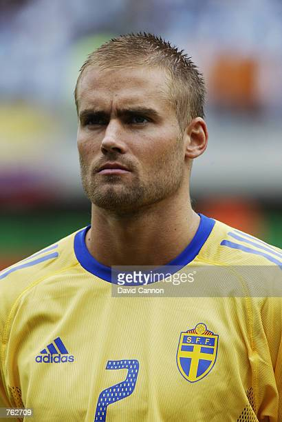 Portrait of Olof Mellberg of Sweden before the FIFA World Cup Finals 2002 Group F match between Argentina and Sweden played at the Miyagi Stadium in...