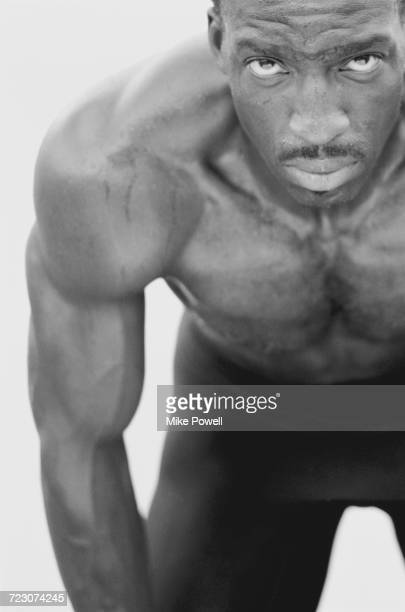 A portrait of Olympic and IAAF World Championship Gold medal wiinning 200 metres and 400 metres sprinter Michael Johnson of the United States on 20...