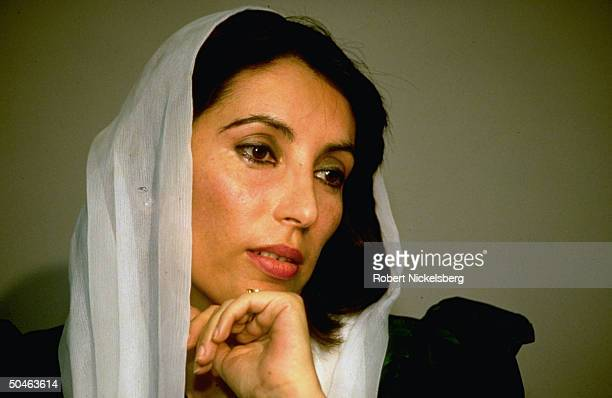 Portrait of opposition cand Benazir Bhutto just before winning election for PM