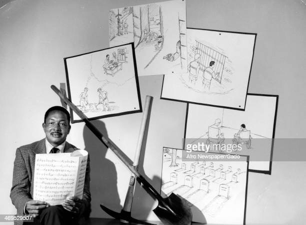 A portrait of Oscar Austin a janitor at the Naval Ordinance Laboratory sings a song of stay in school to potential drop outs Silver Spring Maryland...
