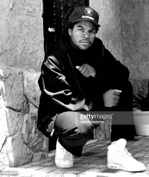 Portrait of O'Shea Jackson better known as the rapper Ice Cube at his home in Inglewood 1990 United States