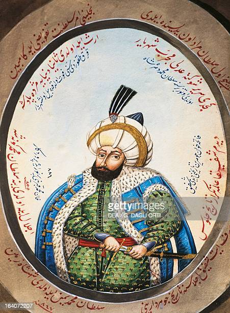 Portrait of Osman I founder of the Ottoman dynasty and the first Sultan of the Ottoman Empire watercolour 19th century Istanbul Turk Ve Islam El...