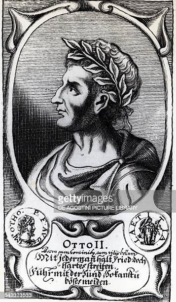 Portrait of Otto II, Holy Roman Emperor , King of Saxony and Emperor of the Holy Roman Empire, engraving. Germany, 10th century.