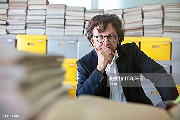 portrait of Overworked Businessman