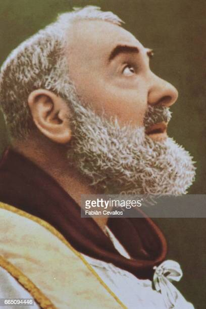 Portrait of Padre Pio at the Capucin convent at the end of his life