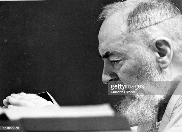 Portrait of Padre Pio while he celebrates the mass at the Sanctuary of Saint Pio of Pietrelcina 1963