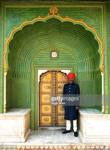 portrait of palace guard - hugh sitton india stock pictures, royalty-free photos & images