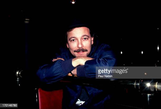 Portrait of Panamanian musician Ruben Blades as he leans on a railing Chicago Illinois November 2 1985