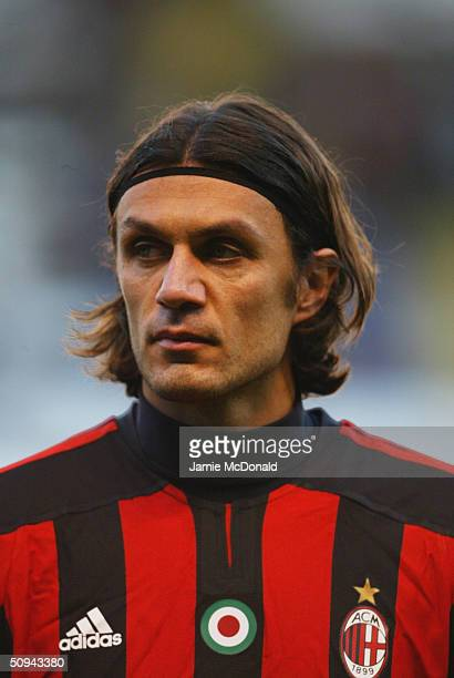 Portrait of Paolo Maldini of AC Milan during the UEFA Champions League match between Deportivo La Coruna and AC Milan at the Estadio Municipal de...