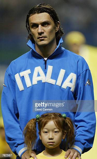 Portrait of Paolo Maldini of Italy before the FIFA World Cup Finals 2002 Group G match between Italy and Mexico played at the Oita Big Eye Stadium in...