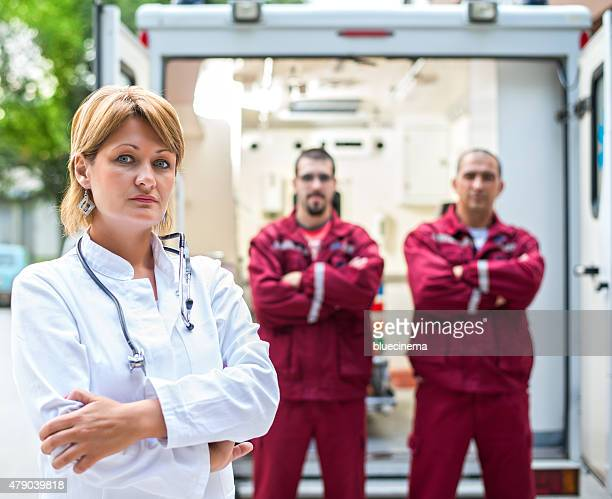 Portrait of Paramedic Workers in front an Ambulance