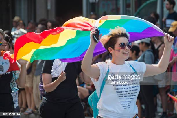 "portrait of participant of lgbtq pride parade in montreal. - ""martine doucet"" or martinedoucet stock pictures, royalty-free photos & images"