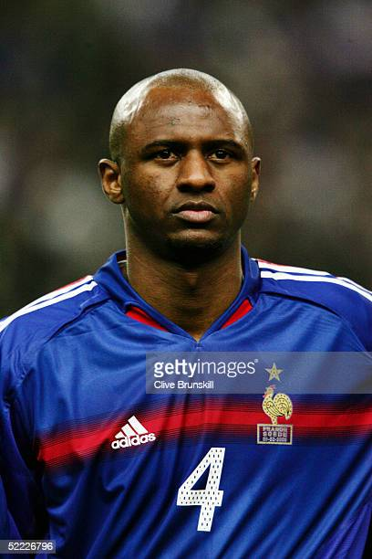 A portrait of Patrick Vieira of France prior to the international friendly match between France and Sweden at Stade De France on February 9 2005 in...