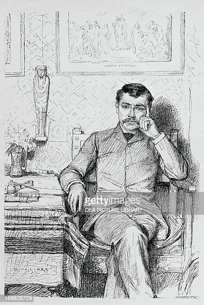 Portrait of Paul Bourget French novelist and essayist Drawing by Diogenes Maillart Parigi Bibliotheque Historique De La Ville De Paris