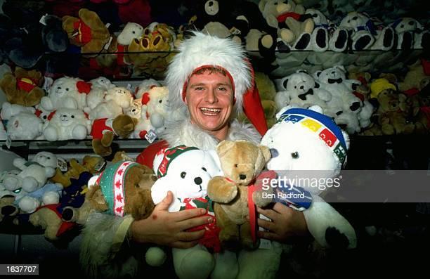 Portrait of Paul Gascoigne of Tottenham Hotspur with cuddly toys Mandatory Credit Ben Radford/Allsport