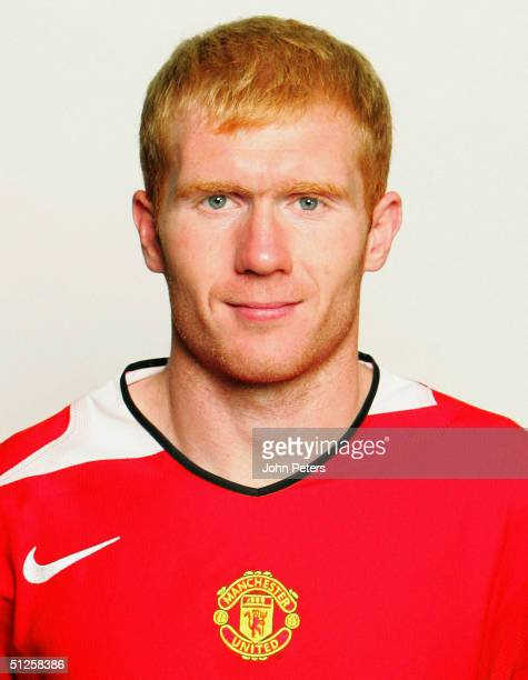 A portrait of Paul Scholes at the annual club photocall at Old Trafford on August 22 2004 in Manchester England